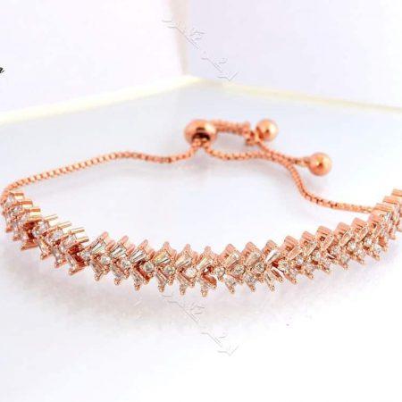 دستبند ظریف رزگلد دخترانه نگیندار کلیو با کریستالهای سواروفسکی Ds-n179 عکس اصلی
