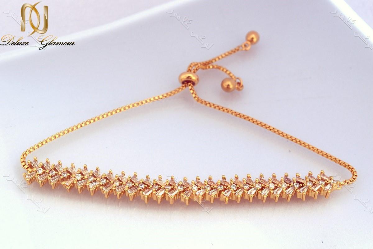 دستبند ظریف طلایی دخترانه نگیندار کلیو با کریستالهای سواروفسکی Ds-n182