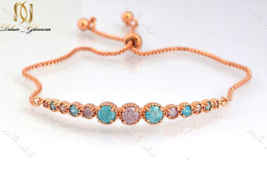 دستبند دخترانه ظریف رزگلد کلیو با سنگ اوپال قیمتی و بند مارشالی Ds-n177 عکس اصلی