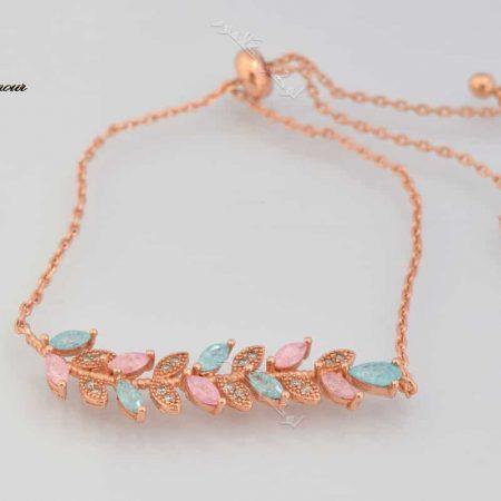 دستبند دخترانه طرح پر کلیو با سنگ اوپال و کریستالهای سواروفسکی اصل Ds-n178