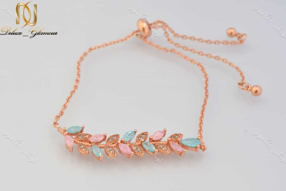 دستبند دخترانه طرح پر کلیو با سنگ اوپال و کریستالهای سواروفسکی اصل Ds-n178 عکس اصلی
