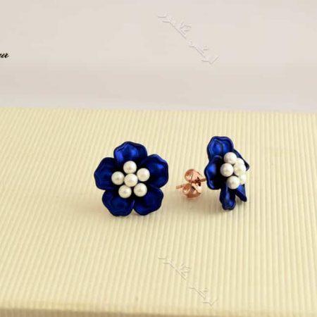 گوشواره دخترانه فانتزی طرح گل آبی برند کلیو Er-n1128 عکس اصلی