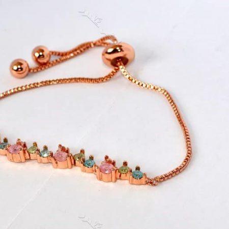 دستبند دخترانه ظریف رزگلد کلیو با سنگ اپال قیمتی سه رنگ ds-n194 u;s hc fyg