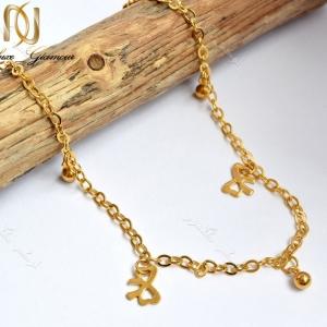 پابند دخترانه طلایی استیل تک ردیفه طرح گوی و پاپیون Se-n107 عکس اصلی
