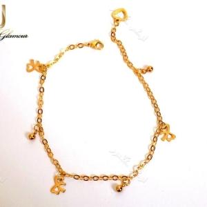 پابند دخترانه طلایی استیل تک ردیفه طرح گوی و پاپیون Se-n107 عکس کلی