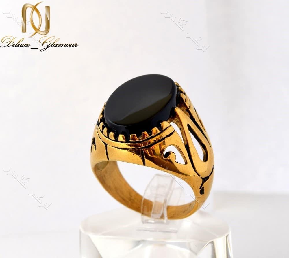 انگشتر مردانه طلایی استیل با تاج طرح عقیق درشت Rg-n156 عکس اصلی