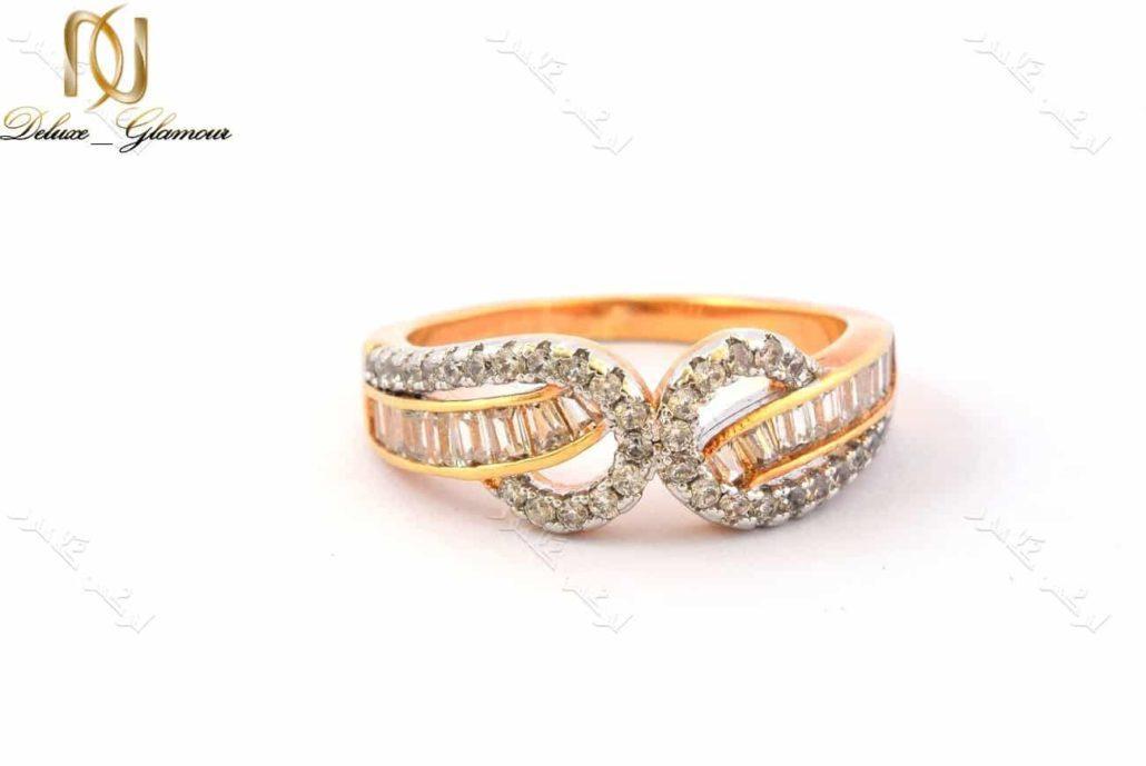 انگشتر ظریف دخترانه طرح طلا ژوپینگ با نگین های باگت Rg-n152