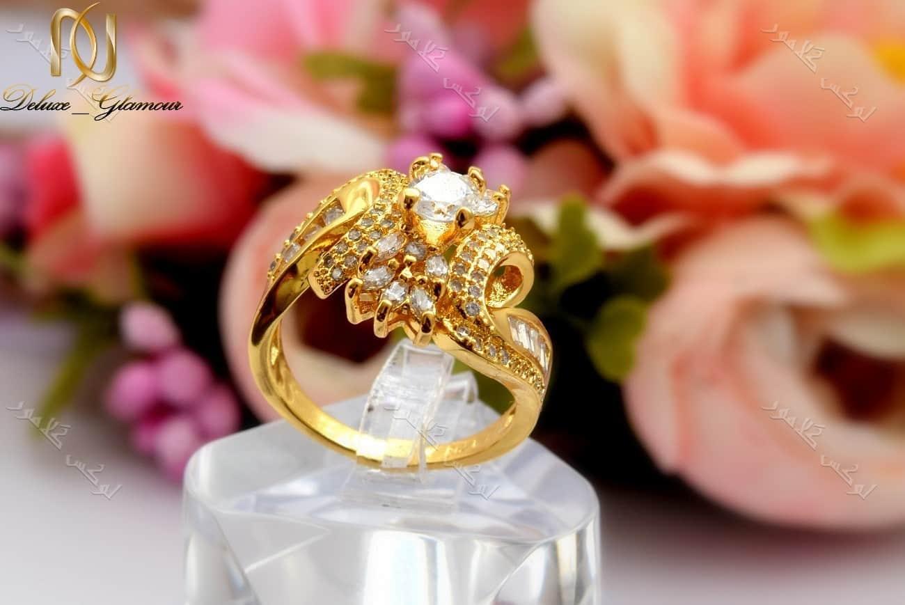 انگشتر زنانه طرح طلا تیتانیومی با نگین باگت درشت برجسته Rg-n146 عکس اصلی