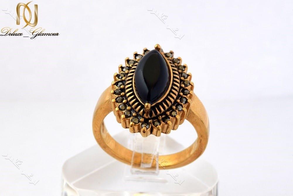 انگشتر استیل زنانه طرح برنزی با سنگ اپال مشکی مدل اشک Rg-n151