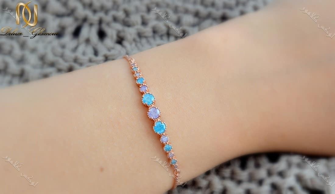 دستبند دخترانه ظریف رزگلد کلیو با سنگ اوپال قیمتی و بند مارشالی Ds-n177