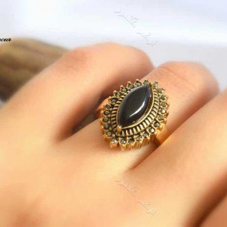 انگشتر استیل زنانه طرح برنزی با سنگ اپال مشکی مدل اشک Rg-n151 عکس اصلی