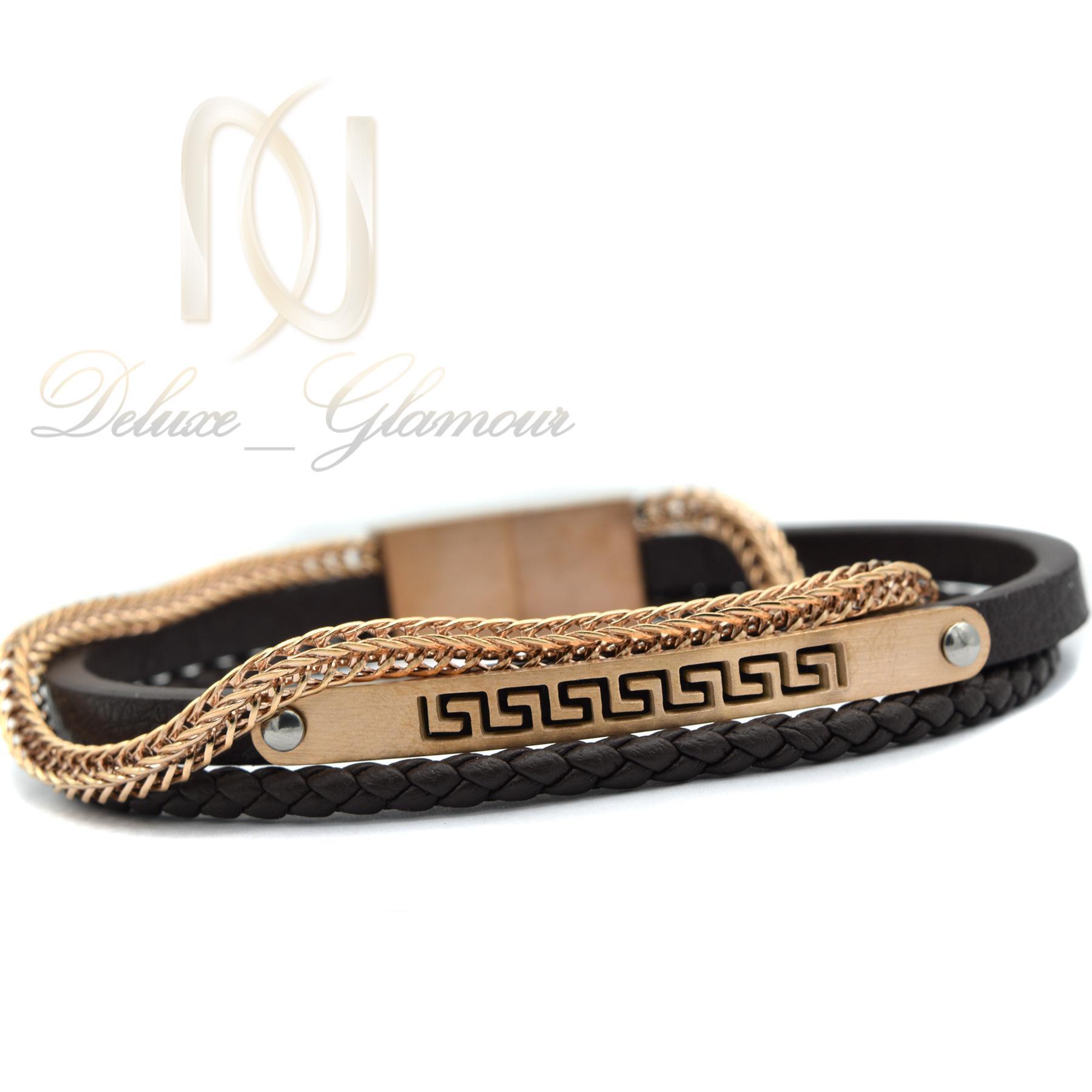 دستبند مردانه چرم سه لاینه زنجیری با رویه استیل رنگ رزگلد ds-n189 از روبرو