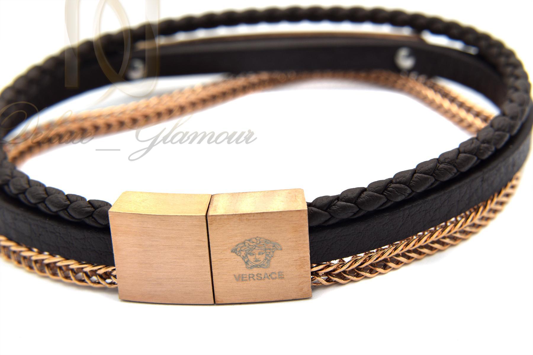 دستبند مردانه چرم سه لاینه زنجیری با رویه استیل رنگ رزگلد ds-n189 قفل