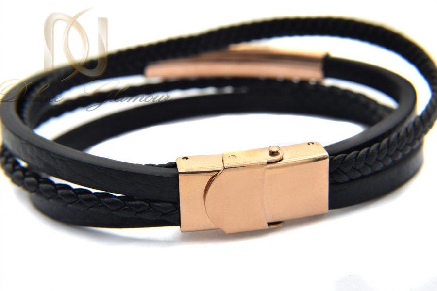 دستبند مردانه چرم چند لاینه طرح مونت بلانک با رویه رزگلد استیل ds-n194