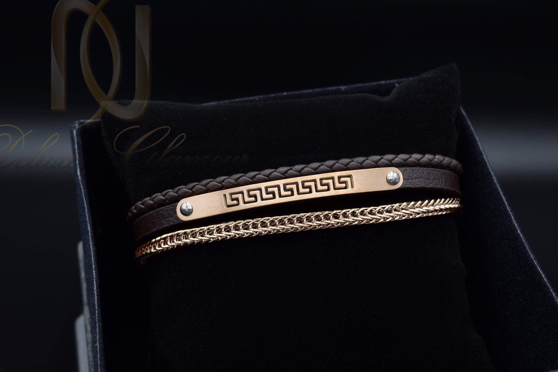 دستبند مردانه چرم سه لاینه زنجیری با رویه استیل رنگ رزگلد