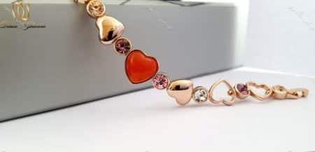 دستبند دخترانه قلبی رزگلد کلیو با کریستالهای سواروفسکی اصل Ds-n166 عکس از پلاک دستبند