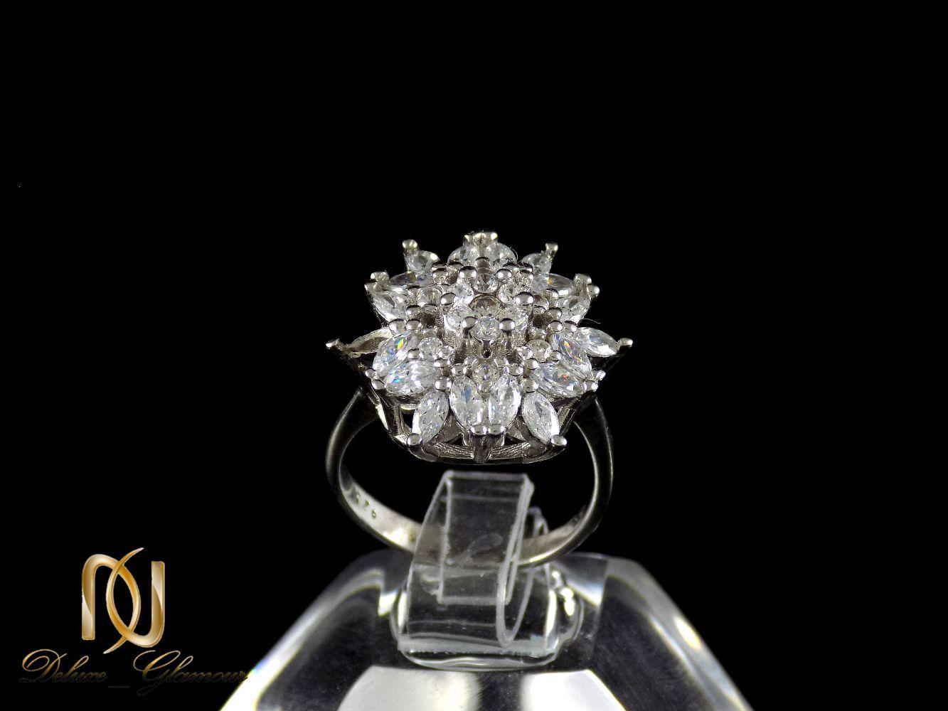 انگشتر زنانه نقره طرح گل با نگین های سفید از نوع زیرکونیا dl-a107