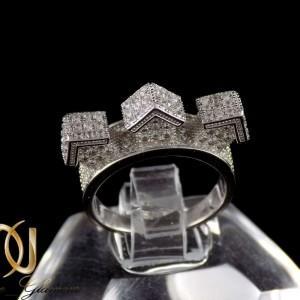 انگشتر نقره زنانه طرح میکرو خانه ای با نگین های سفید زیرکونیا dl-a109 از نمای مشکی