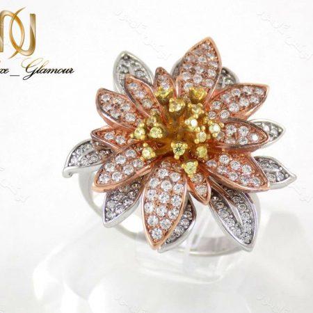 انگشتر نقره زنانه9.62 گرمی سه رنگ طرح گل رز تایلندی dl-a105 از نمای کنار