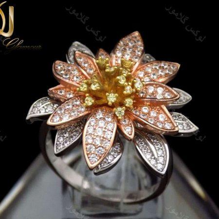 انگشتر نقره زنانه9.62 گرمی سه رنگ طرح گل رز تایلندی dl-a105 از نمای روبرو