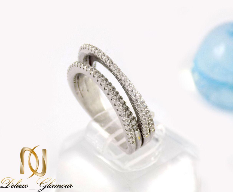 انگشتر نقره سه حلقه ای تایلندی با نگین های از نوع زیرکونیا dl-s118 از نمای کنار