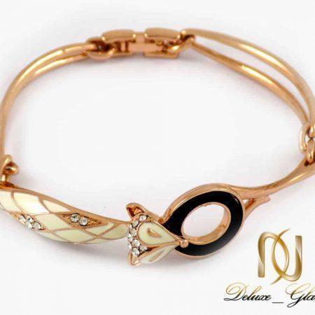 دستبند دخترانه رزگلد کلیو طرح روباه نگین سواروسکی ds-n203 از نمای روبرو