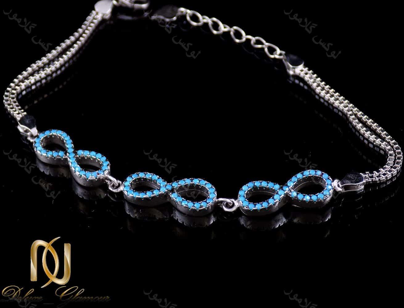 دستبند دخترانه نقره طرح بی نهایت 6.5 گرمی با نگین های لاکی ds-n197 از نمای دور