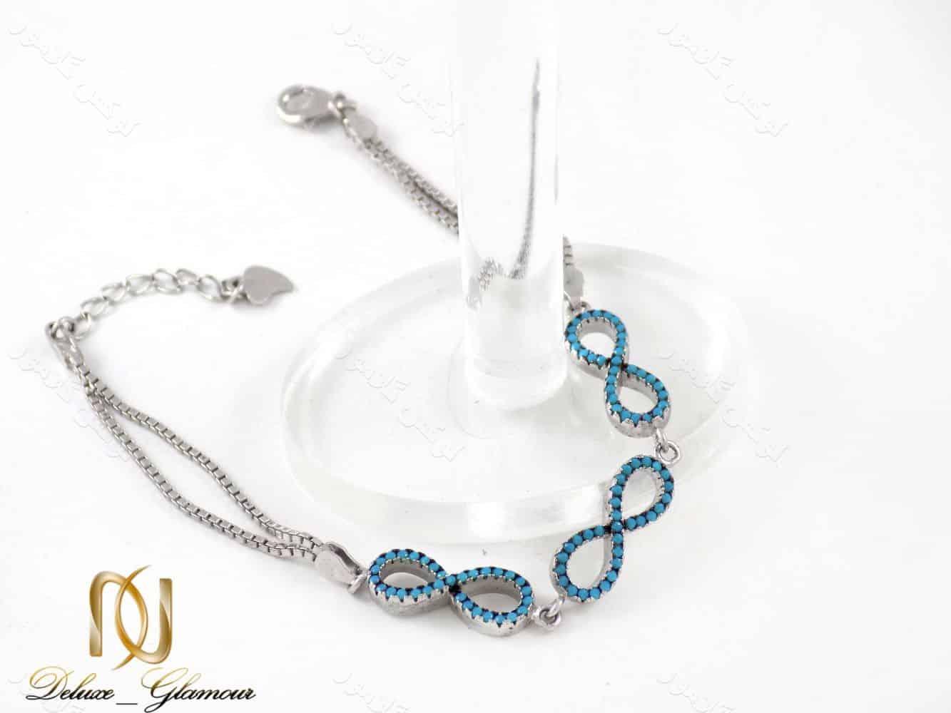 دستبند دخترانه نقره طرح بی نهایت 6.5 گرمی با نگین های لاکی ds-n197 از نمای کنار