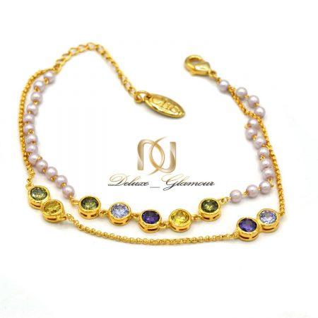 دستبند دخترانه کلیو با نگین های رنگی سواروسکی اصل ds-n202 از نمای سفید