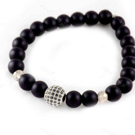 دستبند ست دخترانه و پسرانه سنگ اونیکس با مهره های توپی مارکازیت ah-d106از نمای نقره ای