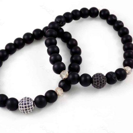 دستبند ست دخترانه و پسرانه سنگ اونیکس با مهره های توپی مارکازیت ah-d106 از نمای روبرو