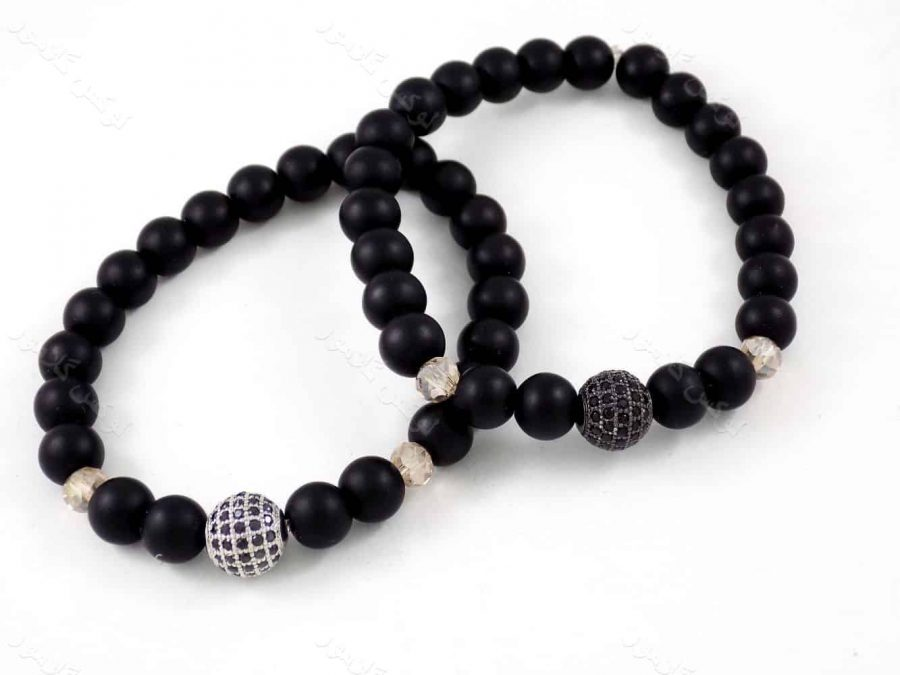 دستبند ست دخترانه و پسرانه سنگ اونیکس با مهره های توپی مارکازیت ah-d106
