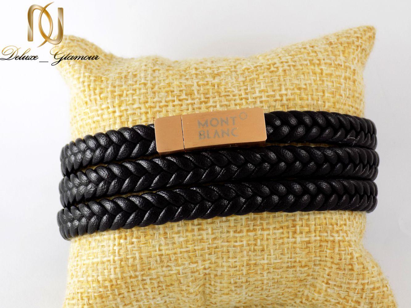 دستبند مردانه چرمی سه لاینه طرح مونت بلانک با رویه رزگلد ds-n199 از نمای روبرو