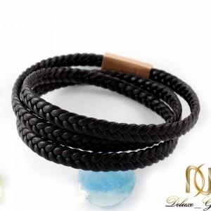 دستبند مردانه چرمی سه لاینه طرح مونت بلانک با رویه رزگلد ds-n199 از نمای پشت