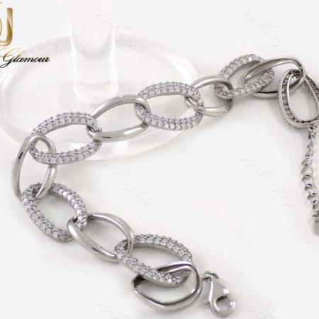 دستبند نقره زنانه طرح کارتیر 11.5 گرمی با نگین سفید زیرکونیا dl-a107 از نمتی کنار