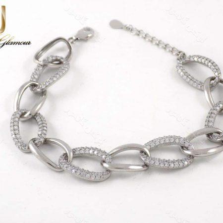 دستبند نقره زنانه طرح کارتیر 11.5 گرمی با نگین سفید زیرکونیا dl-a107