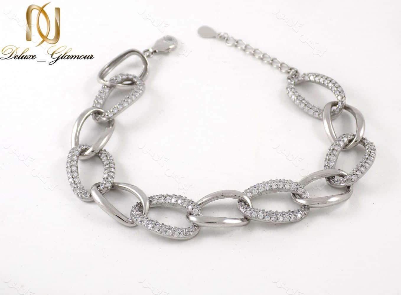 دستبند نقره زنانه طرح کارتیر 11.5 گرمی با نگین سفید زیرکونیا dl-a107 از نمای دور