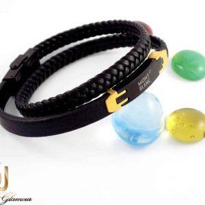 دستبند چرم مردانه طرح مونت بلانک با رویه استیل ds-n198 از نمای روبرو