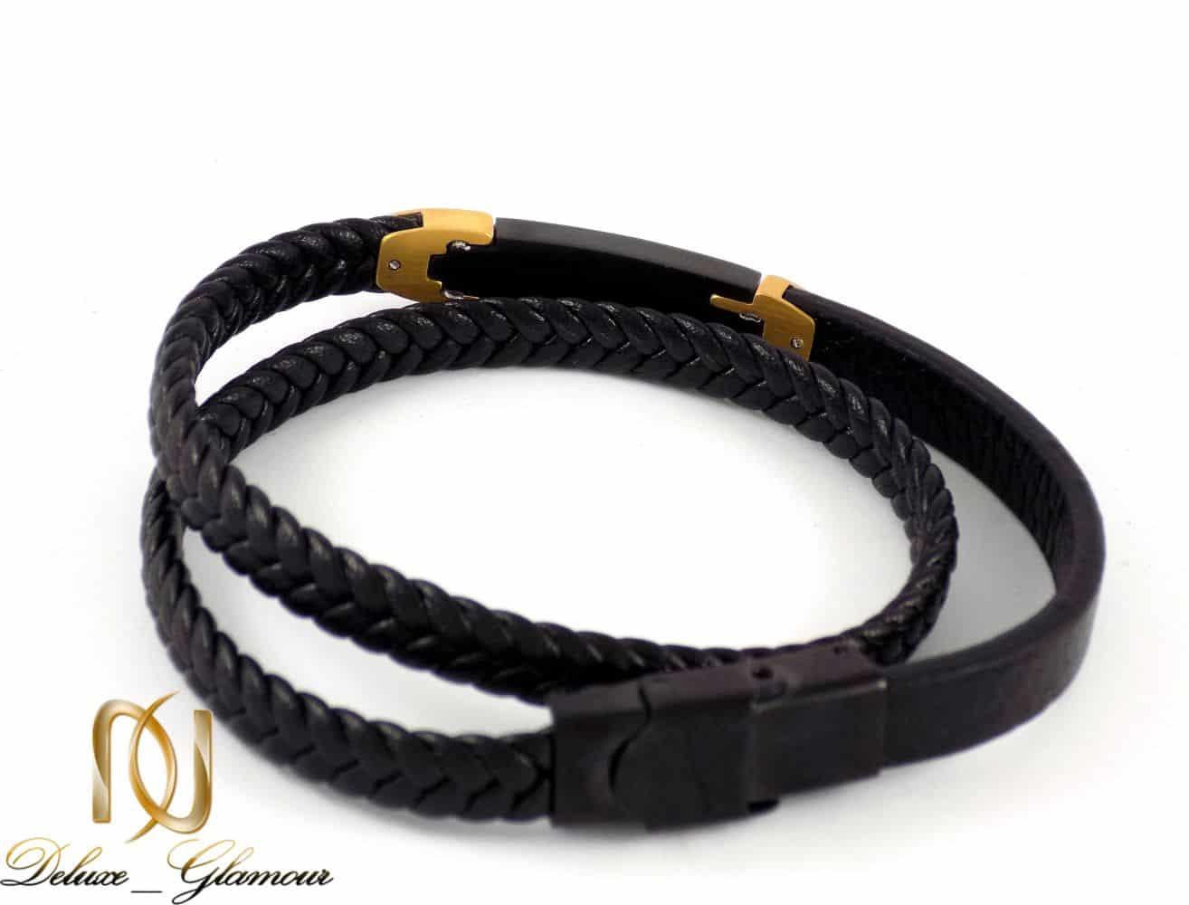دستبند چرم مردانه طرح مونت بلانک با رویه استیل ds-n198