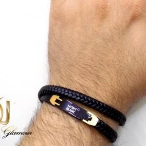 دستبند چرم مردانه طرح مونت بلانک با رویه استیل ds-n198 از نمای بالا