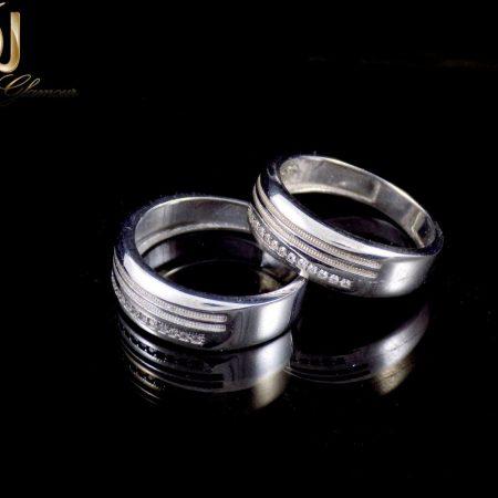 ست حلقه نقره ایتالیایی 925 با نگین های سفید زیرکونیا dl-s114 از نمای مشکی