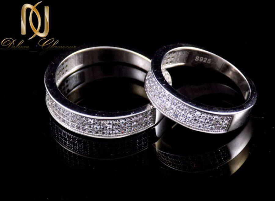ست حلقه نقره دخترانه و پسرانه ایتالیایی نگین زیرکونیا dl-a112 از نمای مشکی