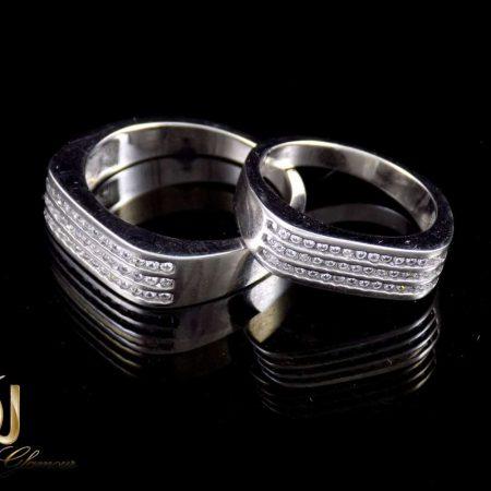 ست حلقه نقره 925 با نگین های سفید زیرکونیا dl-s113 از نمای مشکی