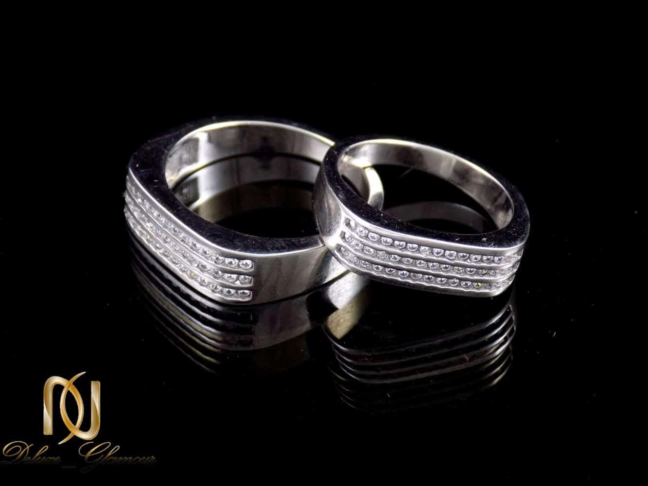 ست حلقه نقره 925 با نگین های سفید زیرکونیا dl-s113