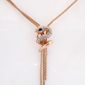 گردنبند جواهری طرح مار کلیو با نگین های سواروسکی nw-n158 از نمای روبرو