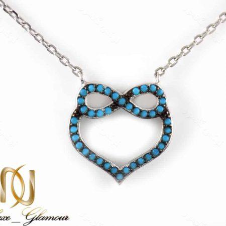 گردنبند دخترانه نقره با طرح قلب و بی نهایت NW-N171 از نمای روبرو