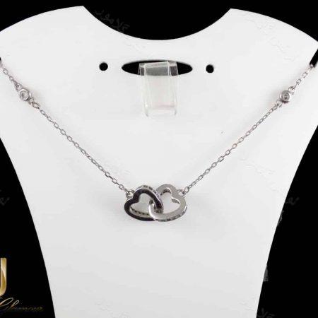 گردنبند دخترانه نقره طرح لاو با نگین های کریستالی سفید NW-N170 از نمای استند