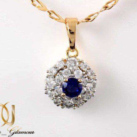 گردنبند دخترانه ژوپینگ با نگین های آبی و سفید از جنس زیرکونیا nw-n164