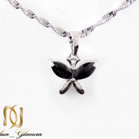 گردنبند دخترانه ژوپینگ طرح پروانه با روکش رادیوم nw-n165 از نمای روبرو