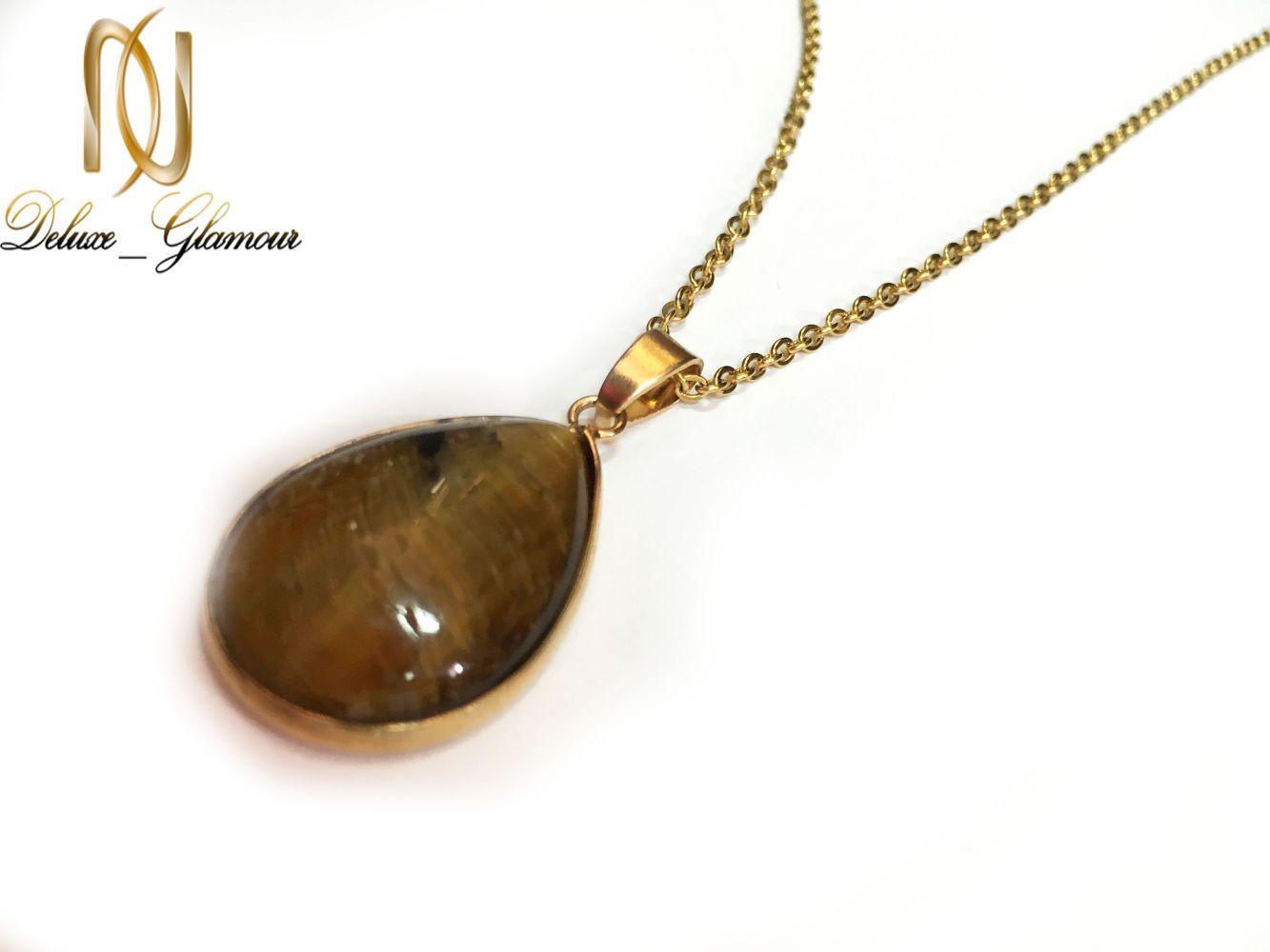 گردنبند سنگ چشم ببر با زنجیر استیل طلایی nw-n177 از نمای کنار